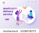 drone delivery service concept... | Shutterstock .eps vector #1028078275