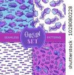 ocean set of vector seamless... | Shutterstock .eps vector #1028080228