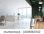 open space office interior with ... | Shutterstock . vector #1028082532