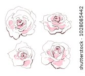 rose vector isolated set. pink... | Shutterstock .eps vector #1028085442