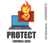 firewall logo. protection logo... | Shutterstock .eps vector #1028090872