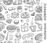 seamless pattern of breakfast....   Shutterstock .eps vector #1028096512