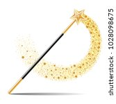 magic wand with gold star with... | Shutterstock .eps vector #1028098675