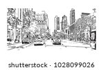 downtown of west side new york... | Shutterstock .eps vector #1028099026