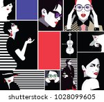 group portraits of fashion... | Shutterstock .eps vector #1028099605