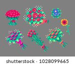 pixel art flower bouquets set . ... | Shutterstock .eps vector #1028099665