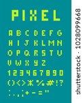 pixel uppercase alphabet and... | Shutterstock .eps vector #1028099668