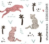 Stock vector seamless pattern with hand drawn leopards creative modern texture for fabric wrapping textile 1028102845