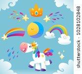 vector set with unicorns  star  ...   Shutterstock .eps vector #1028102848