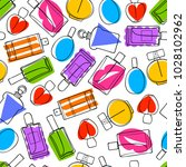 colorful perfume bottles icons... | Shutterstock .eps vector #1028102962