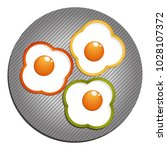 fried eggs with yellow  red ...   Shutterstock .eps vector #1028107372