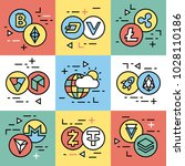 crypto currency thin line color ... | Shutterstock .eps vector #1028110186