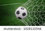 soccer ball on goal with net... | Shutterstock . vector #1028110546