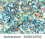 paisley watercolor floral... | Shutterstock . vector #1028110702