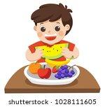 a little boy happy to eat...   Shutterstock .eps vector #1028111605