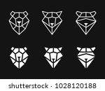 linear heads of bear  raccoon ... | Shutterstock .eps vector #1028120188