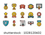 awards related color line icons.... | Shutterstock .eps vector #1028120602