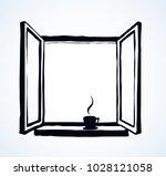 old double pvc sash pane on... | Shutterstock .eps vector #1028121058