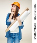 thinking woman architect... | Shutterstock . vector #1028123302