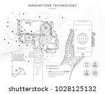 future technologies in cosmos... | Shutterstock .eps vector #1028125132