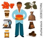 coffee plantation beans drink... | Shutterstock .eps vector #1028127496