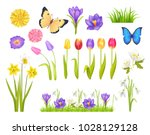Stock vector flowers and butterflies collection floral elements and decoration grass and plants spring time 1028129128
