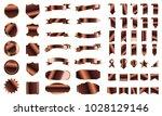bronze banner ribbon label... | Shutterstock .eps vector #1028129146