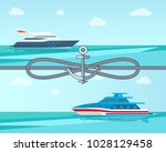 cute seascape and two sea... | Shutterstock .eps vector #1028129458