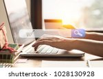 people use notebook and holding ... | Shutterstock . vector #1028130928