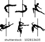 Pole Dancers Silhouettes. The...
