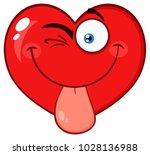 winking red heart cartoon emoji ... | Shutterstock . vector #1028136988