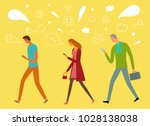 people walking and  looking on... | Shutterstock .eps vector #1028138038