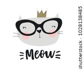 cute princess cat vector print. ... | Shutterstock .eps vector #1028138485