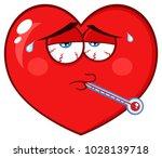 sick red heart cartoon emoji... | Shutterstock . vector #1028139718