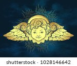 Gold Cherub Cute Winged Curly...