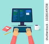 programmer  works at the... | Shutterstock .eps vector #1028149258