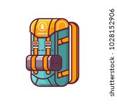 large hiking backpack in flat... | Shutterstock .eps vector #1028152906