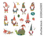 fairytale fantastic gnome dwarf ... | Shutterstock .eps vector #1028162005