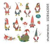 fairytale fantastic gnome dwarf ... | Shutterstock .eps vector #1028162005
