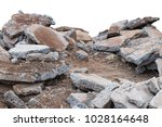 isolate pile of broken concrete ... | Shutterstock . vector #1028164648