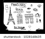 france and paris hand drawn... | Shutterstock .eps vector #1028168635