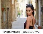 beautiful woman in summer dress ...   Shutterstock . vector #1028170792