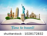 famous landmarks of the world... | Shutterstock . vector #1028172832