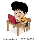 kid playing computer.vector and ... | Shutterstock .eps vector #1028176696