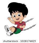kid on swing.vector and...   Shutterstock .eps vector #1028176825