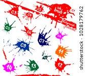 vector set of ink blots. grunge ...   Shutterstock .eps vector #1028179762