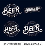 set of beer and brewery hand... | Shutterstock .eps vector #1028189152