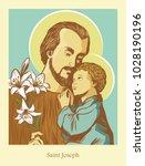 saint joseph the husband of mary | Shutterstock .eps vector #1028190196