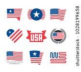american flag vector emblems ... | Shutterstock .eps vector #1028199658