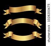 set of golden ribbons vector. | Shutterstock .eps vector #1028203675